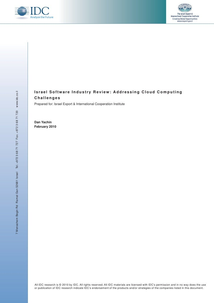 Israel Software Industry Review: Addressing Cloud Computing www.idc.co.il                                                 ...