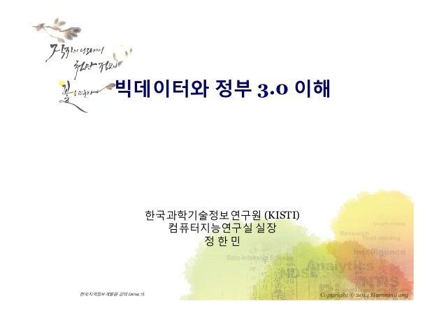 Copyright © 2014 Hanmin Jung한국지역정보개발원강의(2014.7) 한국과학기술정보연구원 (KISTI) 컴퓨터지능연구실 실장 정 한 민 빅데이터와 정부 3.0 이해