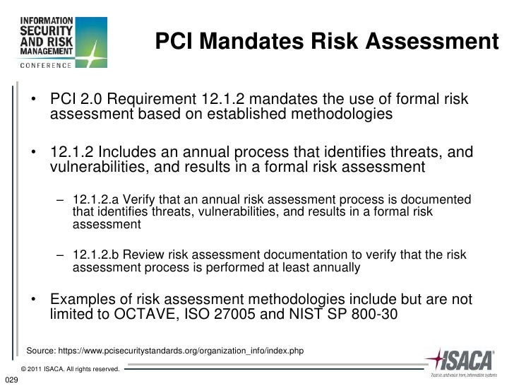 Risk management practices for pci dss 2 0 for Pci dss risk assessment template