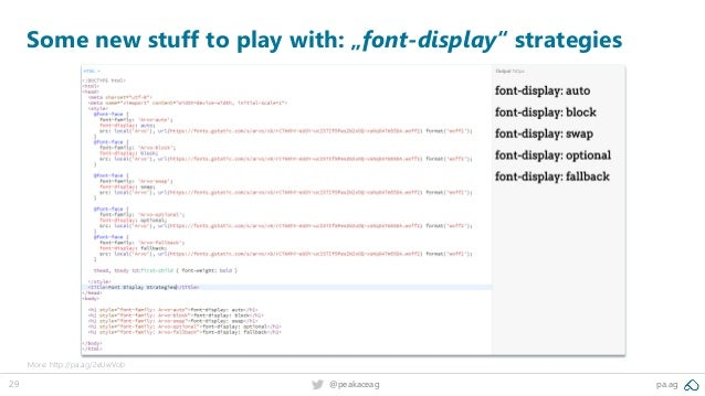 """29 @peakaceag pa.ag Some new stuff to play with: """"font-display"""" strategies More: http://pa.ag/2eUwVob"""