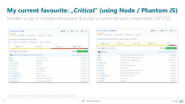 """67 @peakaceag pa.ag My current favourite: """"Critical"""" (using Node / Phantom JS) Renders a site in multiple resolutions & bu..."""