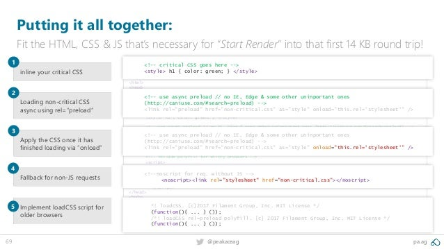 """69 @peakaceag pa.ag Putting it all together: Fit the HTML, CSS & JS that's necessary for """"Start Render"""" into that first 14..."""