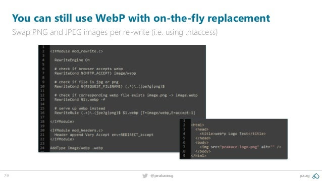 79 @peakaceag pa.ag You can still use WebP with on-the-fly replacement Swap PNG and JPEG images per re-write (i.e. using ....