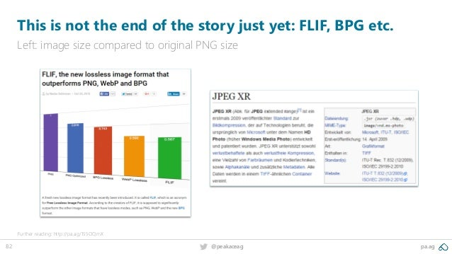 82 @peakaceag pa.ag This is not the end of the story just yet: FLIF, BPG etc. Left: image size compared to original PNG si...