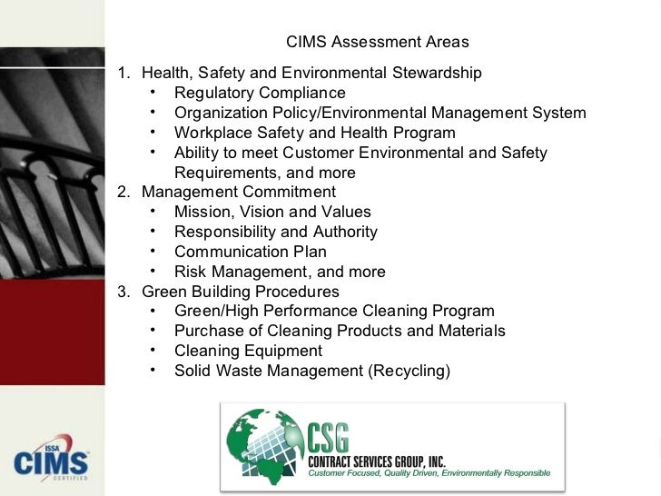 Issa Janitorial Cims Certification Overview