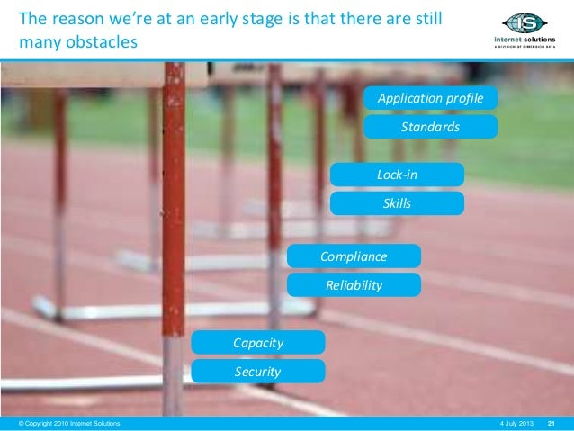 21© Copyright 2010 Internet Solutions 4 July 2013 The reason we're at an early stage is that there are still many obstacle...