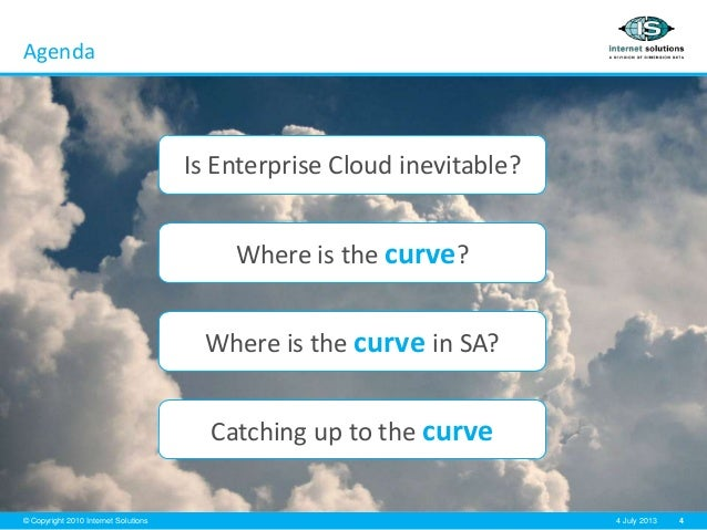 4© Copyright 2010 Internet Solutions 4 July 2013 Agenda Is Enterprise Cloud inevitable? Where is the curve? Where is the c...