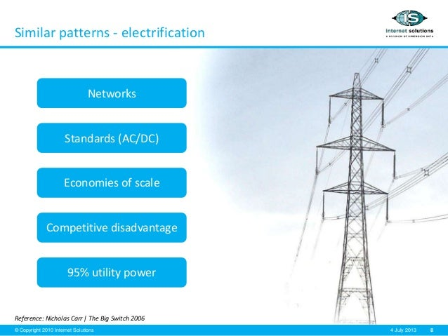 8© Copyright 2010 Internet Solutions 4 July 2013 Similar patterns - electrification Reference: Nicholas Carr   The Big Swi...