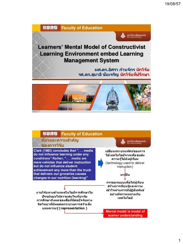 19/08/57 1 Learners' Mental Model of Constructivist Learning Environment embed Learning Management System ผศ.ดร.อิศรา ก้าน...