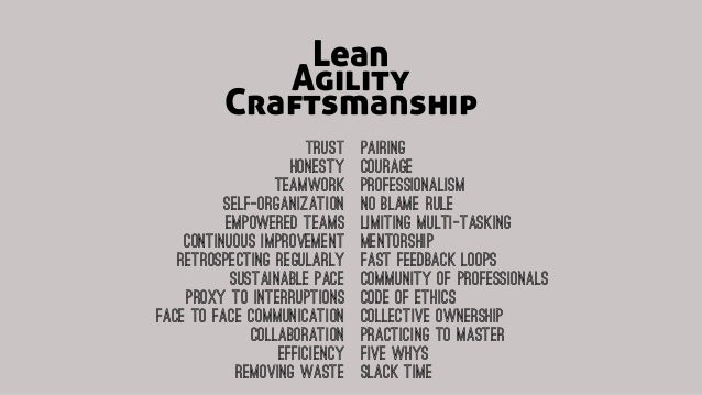 Lean Craftsmanship Agility Trust Honesty