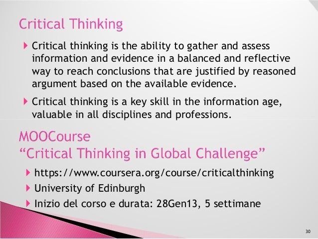 coursera org critical thinking Our story coursera was founded in 2012 by two stanford computer science professors who wanted to share their knowledge and skills with the world.