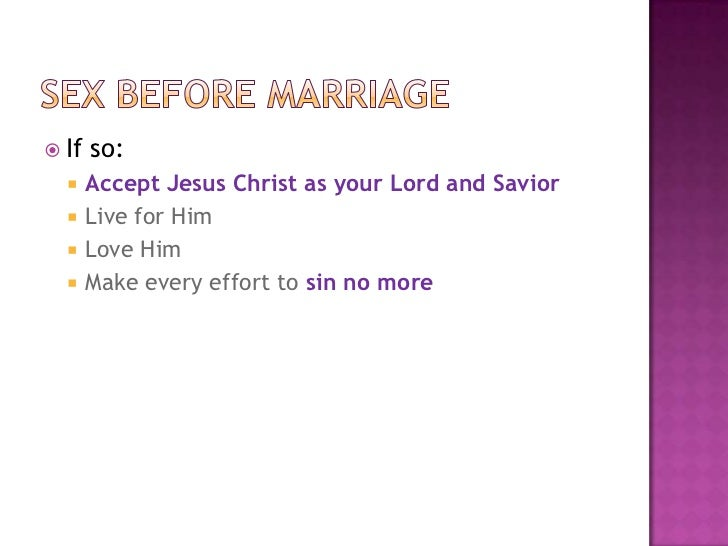 What does god say about sex before marriage