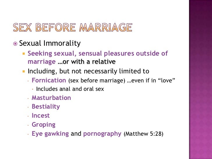 The bible and sex before marriage