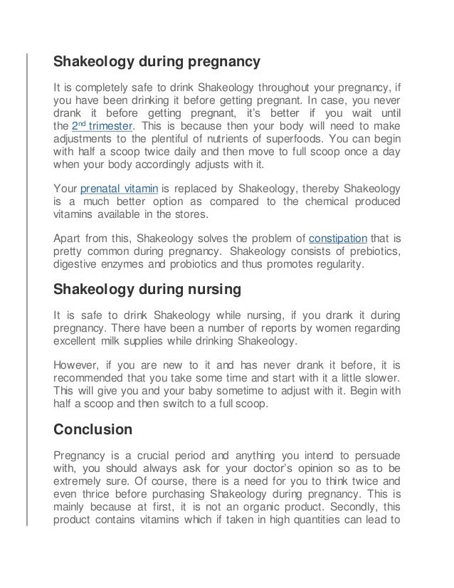 Is Shakeology Safe For Pregnant Women And Nursing Mothers