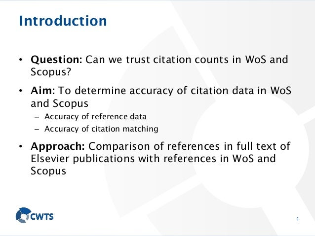 Accuracy of citation data in Web of Science and Scopus Slide 2