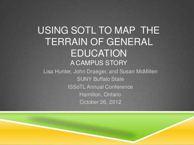 USING SOTL TO MAP THE TERRAIN OF GENERAL      EDUCATION           A CAMPUS STORY Lisa Hunter, John Draeger, and Susan McMi...