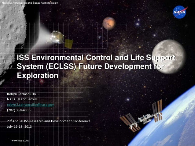 www.nasa.gov National Aeronautics and Space Administration ISS Environmental Control and Life Support System (ECLSS) Futur...
