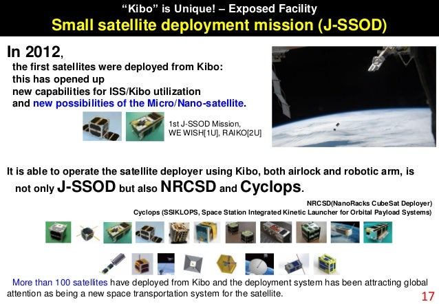 In 2012, the first satellites were deployed from Kibo: this has opened up new capabilities for ISS/Kibo utilization and ne...