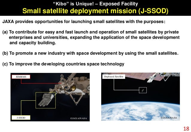JEMRMS J-SSOD ©JAXA/NASA Deployed Satellite ©JAXA/NASA JAXA provides opportunities for launching small satellites with the...