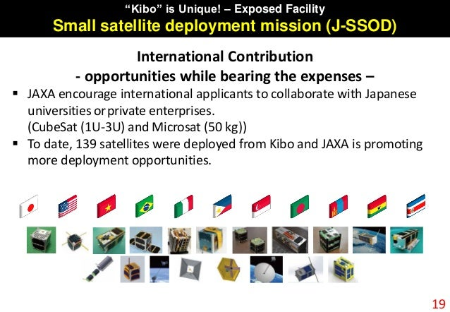 """19 """"Kibo"""" is Unique! – Exposed Facility Small satellite deployment mission (J-SSOD) International Contribution - opportuni..."""