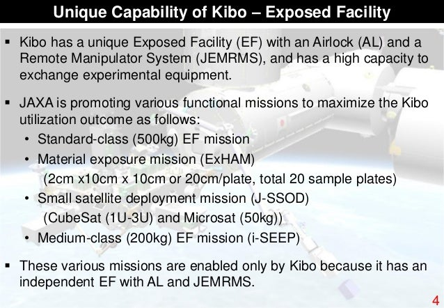  Kibo has a unique Exposed Facility (EF) with an Airlock (AL) and a Remote Manipulator System (JEMRMS), and has a high ca...