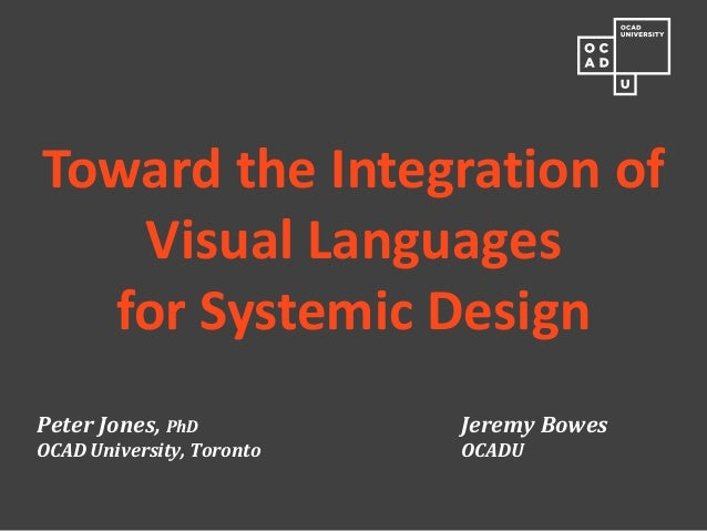 Peter Jones, PhD Jeremy Bowes OCAD University, Toronto OCADU  Toward the Integration of Visual Languages for Systemic Desi...