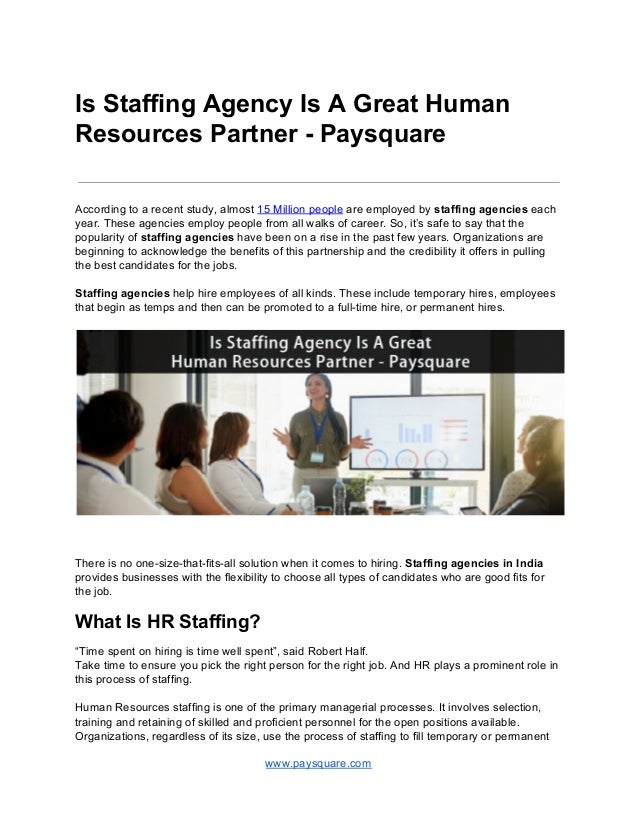 Is staffing agency is a great human resources partner paysquare