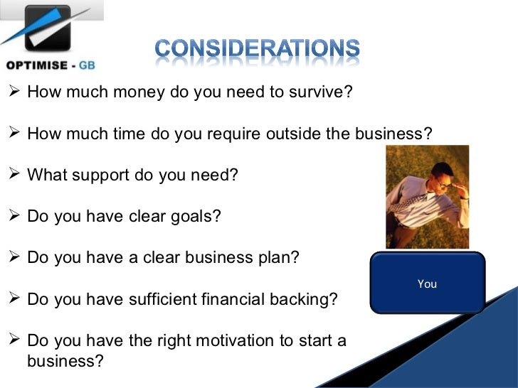 <ul><li>How much money do you need to survive? </li></ul><ul><li>How much time do you require outside the business? </li><...
