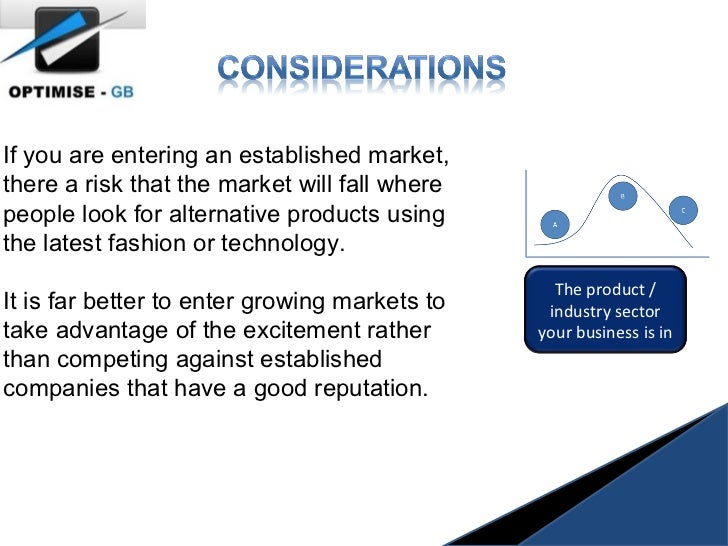 If you are entering an established market, there a risk that the market will fall where people look for alternative produc...