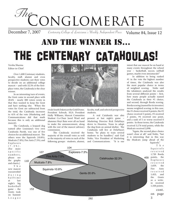 The                     Conglomerate December 7, 2007                          Centenary College of Louisiana's Weekly Ind...