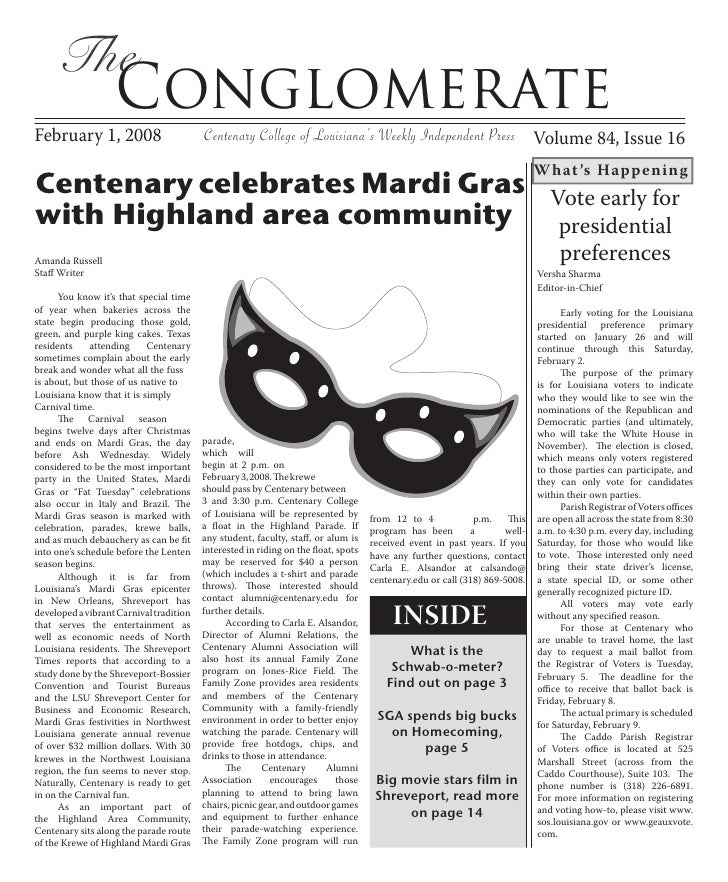 The                    Conglomerate February 1, 2008                         Centenary College of Louisiana's Weekly Indep...