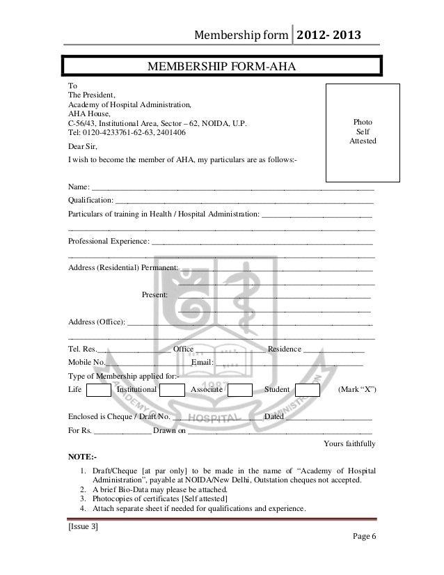 AHA Membership Form 2012-2013