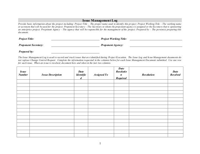 Issue management log for Project management issues log template