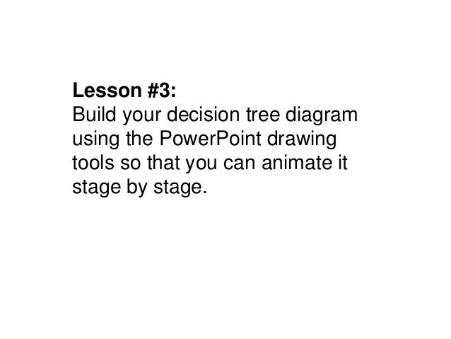Lesson #3:Build your decision tree diagramusing the PowerPoint drawingtools so that you can animate itstage by stage.