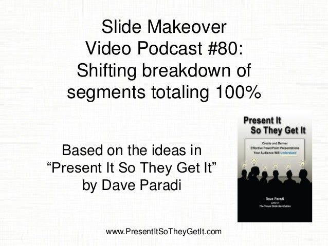"Slide Makeover Video Podcast #80: Shifting breakdown of segments totaling 100%  Based on the ideas in ""Present It So They ..."