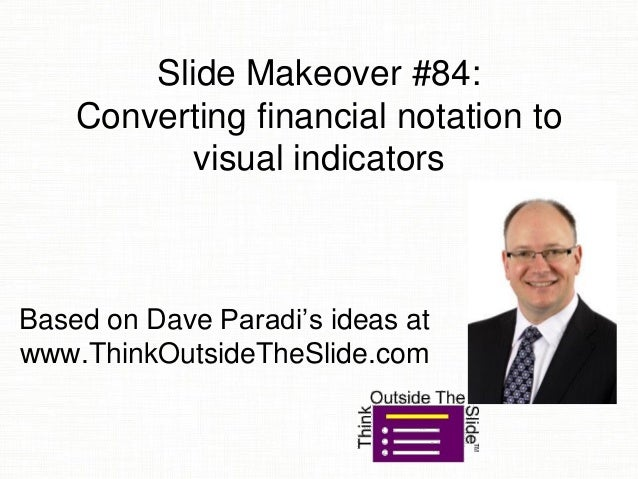 Slide Makeover #84: Converting financial notation to visual indicators Based on Dave Paradi's ideas at www.ThinkOutsideThe...