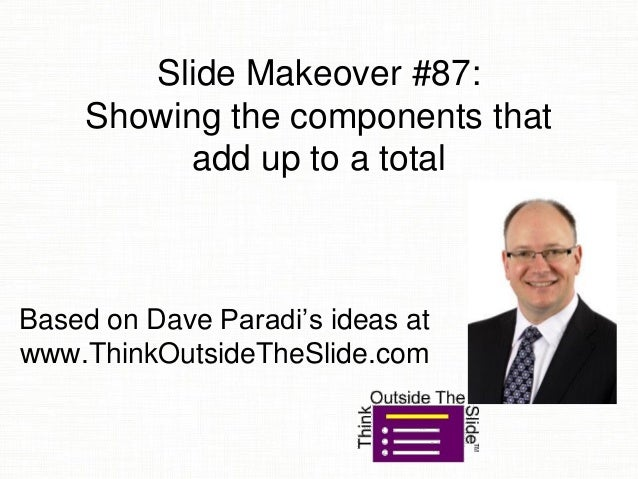 Slide Makeover #87: Showing the components that add up to a total Based on Dave Paradi's ideas at www.ThinkOutsideTheSlide...