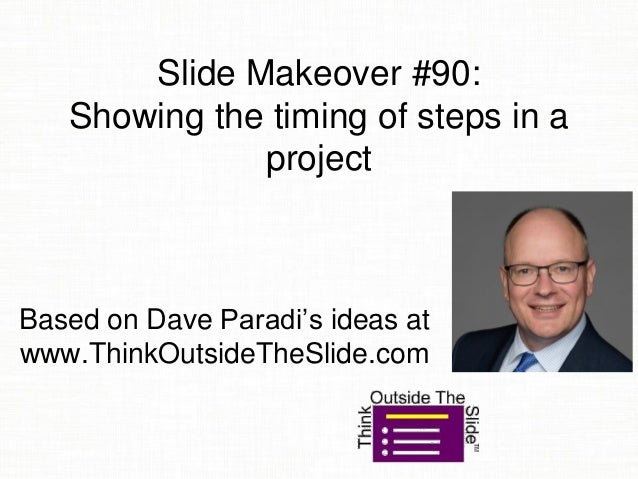 Slide Makeover #90: Showing the timing of steps in a project Based on Dave Paradi's ideas at www.ThinkOutsideTheSlide.com