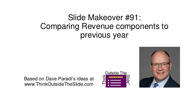 Slide Makeover #91: Comparing Revenue components to previous year Based on Dave Paradi's ideas at www.ThinkOutsideTheSlide...