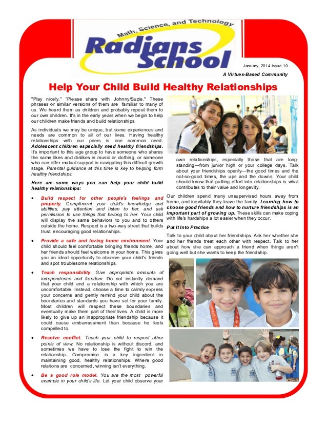 "January,  2014  Issue  10  A  Virtues-Based  Community  Help Your Child Build Healthy Relationships ""Play   nicely.""   ""Pl..."
