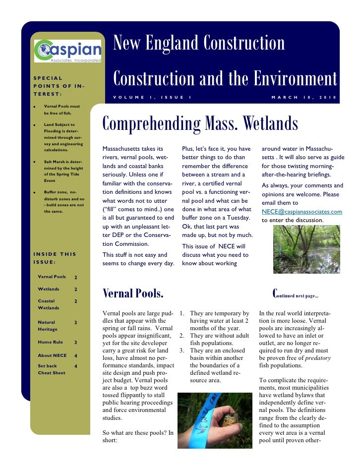 New England Construction SPECIAL POINTS OF IN- TEREST:                                Construction and the Environment    ...