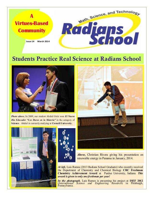 Students Practice Real Science at Radians School Issue 14 March 2014 AAA VirtuesVirtuesVirtues---BasedBasedBased Community...