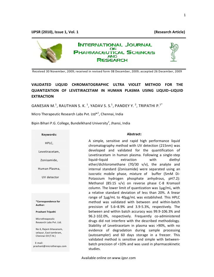1    IJPSR (2010), Issue 1, Vol. 1                                                  (Research Article)     Received 30 Nov...