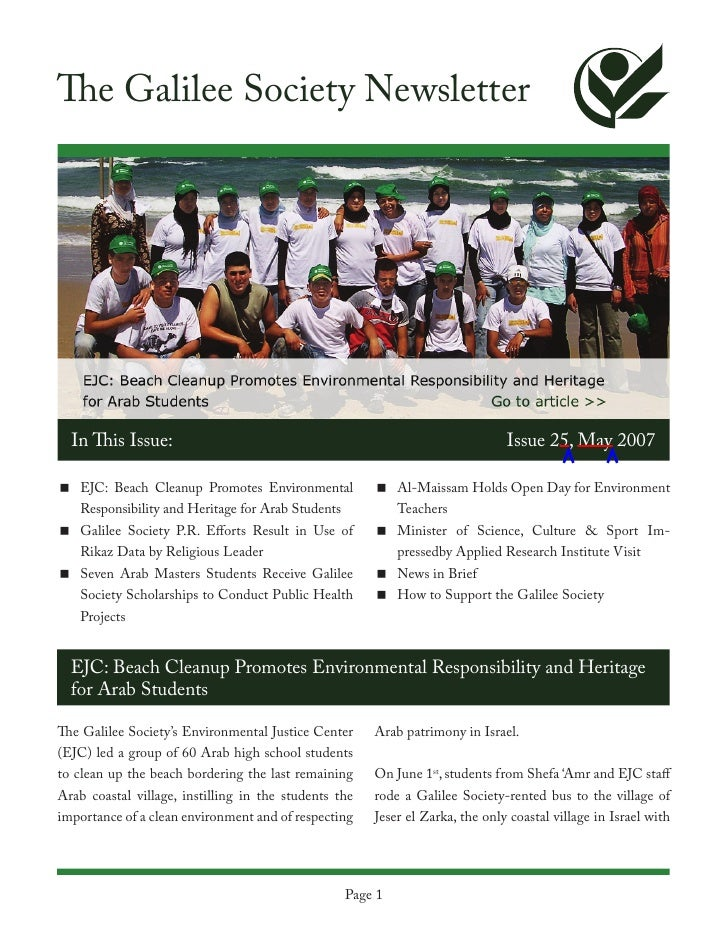 The Galilee Society Newsletter  In This Issue:                                                               Issue 25, May...