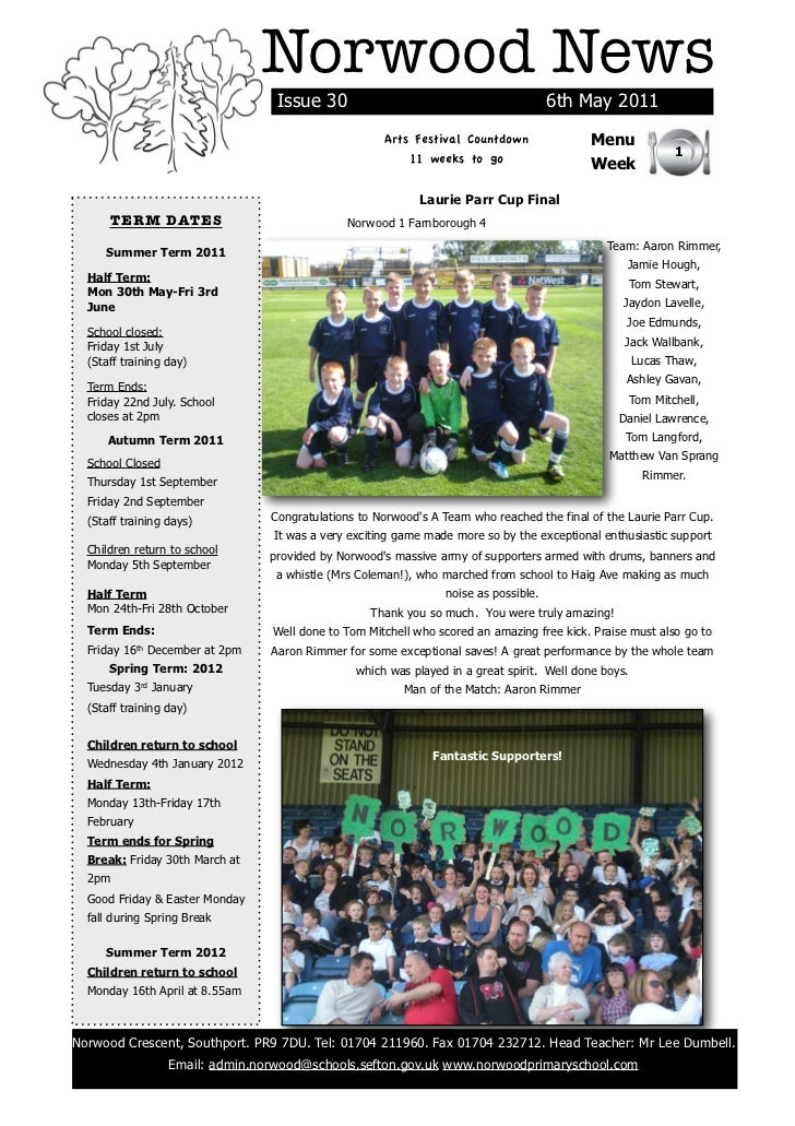 Norwood News                                  Issue 30                                           6th May 2011             ...