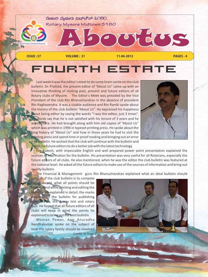 ISSUE : 37                VOLUME : 31                        11-04-2012                             PAGES - 4   Fourth Est...