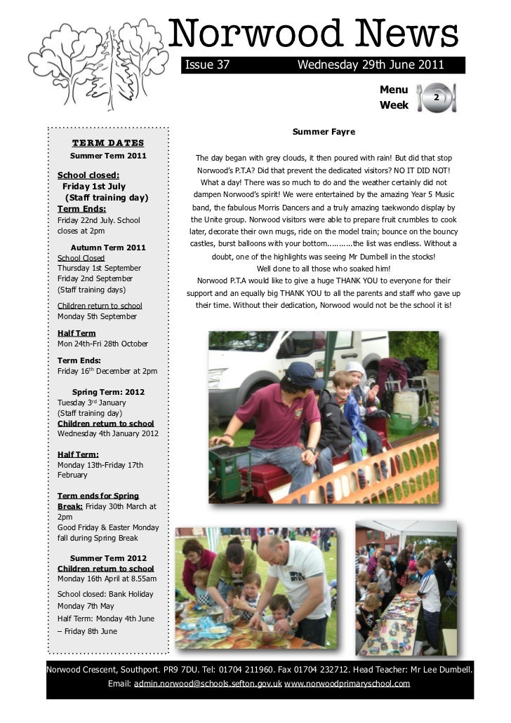Norwood News                                  Issue 37                         Wednesday 29th June 2011                   ...