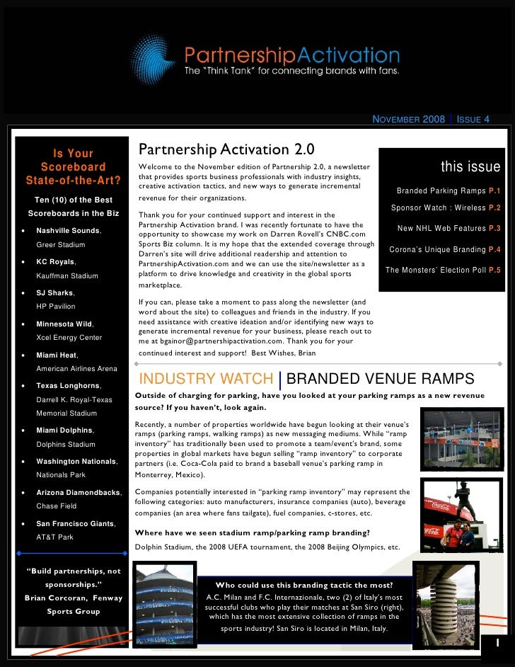 NOVEMBER 2008         ISSUE 4            Is Your                 Partnership Activation 2.0       Scoreboard              ...