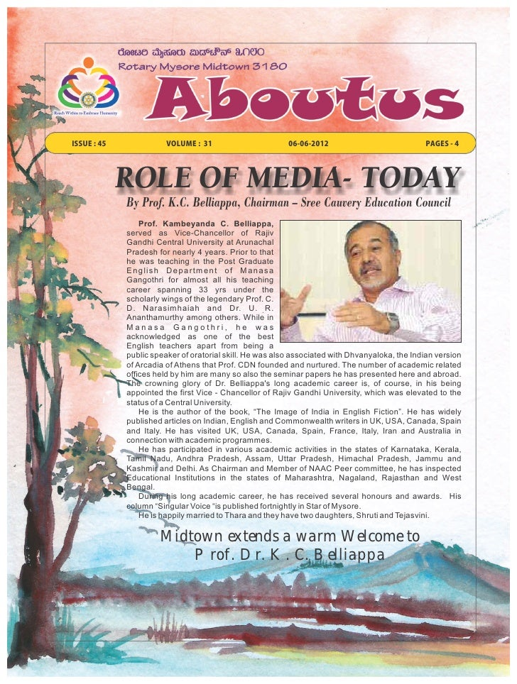 ISSUE : 45              VOLUME : 31                       06-06-2012                            PAGES - 4             ROLE...