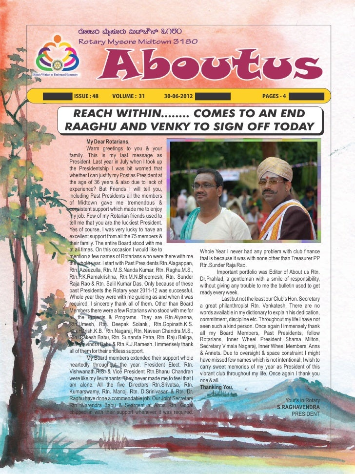 ISSUE : 48        VOLUME : 31              30-06-2012                                     PAGES - 4 REACH WITHIN........ C...